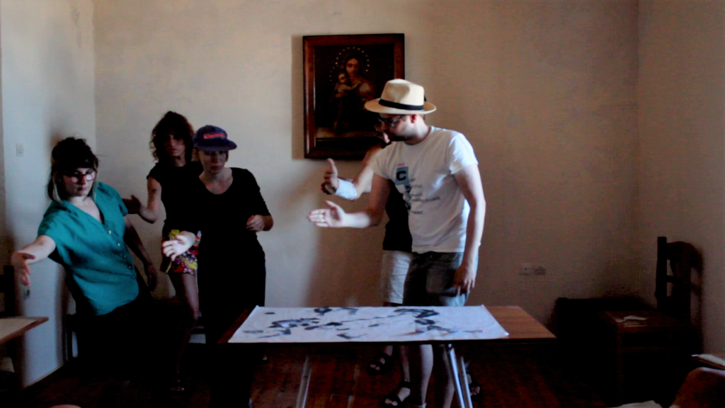 Workshop at the Old Jesuit Monastery | Performing one of the scores (screenshot), Ano Syros (2019)
